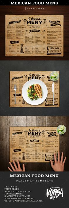 "Mexican Food Menu Placemat template — Photoshop PSD <a class=""pintag searchlink"" data-query=""%23mexican"" data-type=""hashtag"" href=""/search/?q=%23mexican&rs=hashtag"" rel=""nofollow"" title=""#mexican search Pinterest"">#mexican</a> <a class=""pintag"" href=""/explore/vintage/"" title=""#vintage explore Pinterest"">#vintage</a> • Download ➝ <a href=""https://graphicriver.net/item/mexican-food-menu-placemat-template/18878470?ref=pxcr"" rel=""nofollow"" target=""_blank"">graphicriver.net/...</a>"