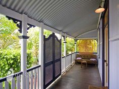 Considering a lattice door for the entry verandah. I love them Adam will probably say too Queenslanderish. Veranda Railing, Porch Gate, Front Verandah, Front Porch, Front Stairs, Outdoor Spaces, Outdoor Decor, Balcony Design, Top Interior Designers