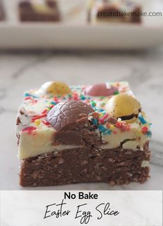 The Best No Bake Easter Egg Slice Recipe! A simple no bake slice filled with your favourite easter eggs. Both regular and Thermomix instructions included. Easy Easter Recipes, Easy Easter Desserts, Kid Desserts, Delicious Desserts, Dessert Recipes, Thermomix Desserts, Chocolate Slice, Easter Chocolate, Delicious Chocolate