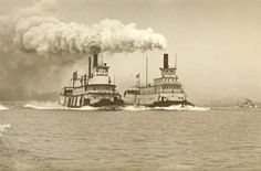 1952 Tugboat Race: Henderson (left) and Portland (right); The Henderson won.