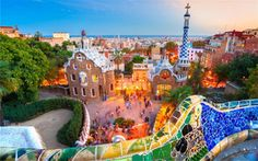 The city of Barcelona is characterised by the creative art and unique buildings of Catalan architect Gaudi. This is Park Güell, which features many of his creative mosaics plus amazing panoramic views of the city Places In Europe, Places To Travel, Travel Destinations, Places To Go, Travel Deals, Uk Europe, Travel Tourism, Vacation Travel, Barcelona City