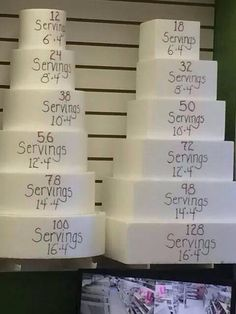 Wondering how big of a cake you need to order. This is a helpful wedding cake servings guide. Cake Decorating Techniques, Cake Decorating Tips, Cake Serving Guide, Wilton Cake Serving Chart, Bolo Fondant, Nake Cake, Cake Pricing, Cake Business, Baking Business