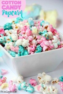 Cotton Candy Popcorn - Candy-coated popcorn with sprinkles and real cotton candy pieces! A great dessert for Easter, baby showers or any time of year!
