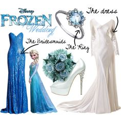"""Elsa's from Frozen Wedding"" by mitomana on Polyvore. The bridesmaids can wear the ring, I think I'd want different flowers, but in that color, the bridesmaids will definitely get that dress. I think I would, wear a different dress though, and maybe heels that weren't so high."