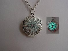 Glow In The Dark Frozen Blue Ice Round Filigree Necklace ~ Frozen Ice Bright Aqua Glow with Free UV Charging Light