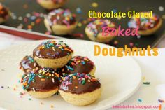 Chocolate Glazed Baked Doughnuts and World Baking Day Doughnut pan or ...