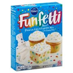 Pillsbury Funfetti Premium Cake & Cupcake Mix With Candy Bits Box Cupcake Mix, Cupcake Cakes, T Rex Cake, Egg White Recipes, White Cakes, Box Cake Mix, White Cake Mixes, Cake Mix Recipes, Vanilla Flavoring