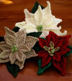 Ravelry: Poinsettia Applique crochet pattern by Marilyn Smith