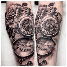 Pocket Watch Tattoo Design, Pocket Watch Tattoos, Full Sleeve Tattoo Design, Baby Tattoo For Dads, Wrist Tattoos For Guys, Tattoos For Kids, Tattoos For Baby Boy, Half Sleeve Tattoos Lower Arm, Tattoos For Women Half Sleeve