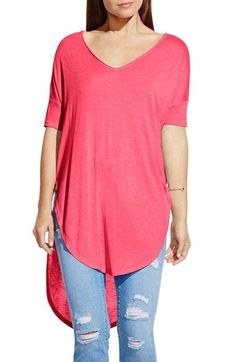Two by Vince Camuto V-Neck Slub Knit Dolman Sleeve Tunic