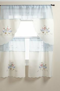 United Linens Lucky Duck 3-Piece Luxury Embroidered Kitchen Curtain, Blue by United Linens. $15.99. Has 2 tiers and valence. Machine wash. 100% Polyester. Matches every kitchen. Comes 3 in a set. Moderns kitchen curtain. Embroidered kitchen curtain