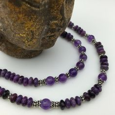 Spiritual. Russian Charoite, Amethyst and Sterling Silver Necklace by Stone Angel Healing