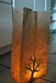 Paper bag Burning Bush DIY Shavuot Luminar Tutorial halloween