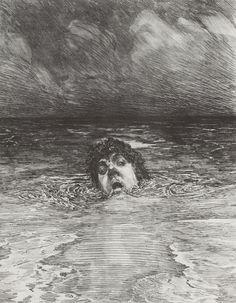 Max Klinger, Untergang, 1884, (Blatt 12) aus Ein Leben (Opus VIII), Radierung, Kaltnadel