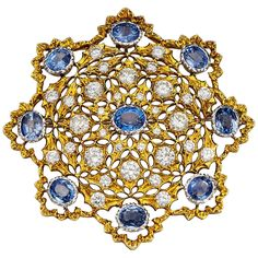 Buccellati Outstanding Sapphire Diamond Gold Brooch Pendant | From a unique collection of vintage brooches at https://www.1stdibs.com/jewelry/brooches/brooches/