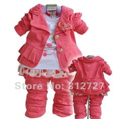 Cheap baby suit, Buy Quality baby clothing suit directly from China pink baby clothing Suppliers: Toddlers' Autumn Set Outerwear+T-shirt+Pants/Hot pink Girls' Clothing Kids Clothes/baby suits/baby clothes/babywear Toddler Pants, Toddler Girl Outfits, Boy Outfits, Toddler Girls, Fashion Kids, Korean Fashion, Autumn Fashion, Korean Clothing Stores, Costume Rouge