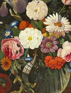 Jan van Os  Still Life with Flowers in Glass Vase, detail    18th century