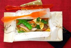Fish en papillote - Tartine Gourmande Instead of snap peas and coriander: 1 leak bottom and top trimmed off, 1 fennel mandolin, 2 garlic cloves minced, Tsp cilantro. If use trout (15')