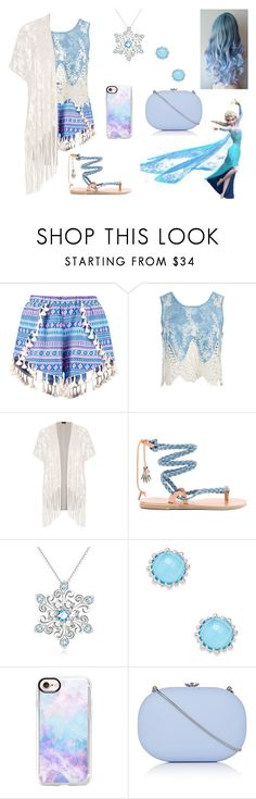 """Elsa Inspired Outfit"" by oviyaa-t on Polyvore featuring Sans Souci, City Chic, Disney, Ancient Greek Sandals, Anzie, Casetify, Jeffrey Levinson and plus size clothing"