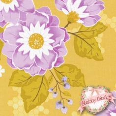 """Promenade Fabric C2640 Yellow by Stitch Studios for Riley Blake Designs: Promenade by Stitch Studios for Riley Blake Designs.  100% cotton, 44""""/45"""" wide.  This fabric features a large floral design on a yellow background."""