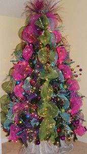tree with pink and aqua