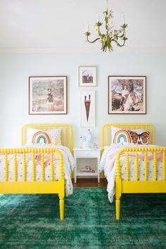 great kids room palette - love the bright bed for a good night's sleep.