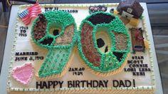 90th birthday  cake 90th Birthday Cakes, Happy Birthday Dad, Birthday Parties, I Wanna Party, Dad Cake, Cake Decorating, Decorating Ideas, Party Cakes, Yummy Cakes