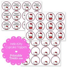 Free hello kitty bow gift tags from for Hello kitty cupcake topper template