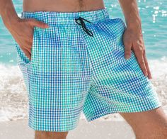 Dive into our Southern swim trunk collection. Hollister Shirts, Seersucker, Swim Trunks, Swim Shorts, Style Guides, Gingham, Swimsuits, Swimwear, Menswear