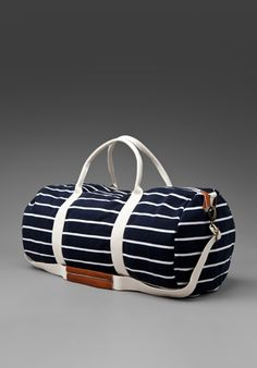 BRANDY MELVILLE Large Striped Duffle in Navy/White