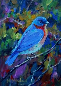 BLUEBIRD AT SPRING'S APPROACH, painting by artist Elizabeth Blaylock