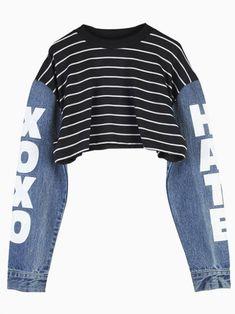 Choies Black Stripe Crop Top with Contrast Denim Sleeves liked on Denim Crop Top, Crop Top Sweater, Cropped Tops, Striped Crop Top, Crop Top Jacket, Cropped Shirt, Stripe Top, Denim Shirt, Teen Fashion Outfits