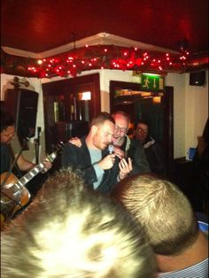 Michael Fassbender with Liam Cunningham singing Johnny Cash's Ring of Fire in Dublin, December 2012