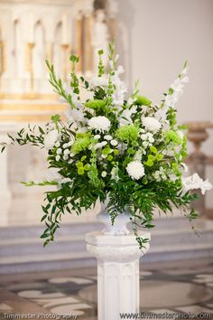 nuptials florals in white with mixed foliages NOT this bright green. All around on the Milan vase. With the short pedestals Easter Flower Arrangements, Wedding Arrangements, Wedding Centerpieces, Floral Arrangements, Wedding Bouquets, Wedding Flowers, Altar Flowers, Church Flowers, Funeral Flowers