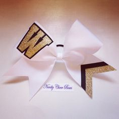Monogram letter with Glitter White Cheer Bow by NoveltyCheerBows, $15.00