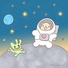 Bear walking on the moon. #Kawaii #cartoon #childrensIllustration