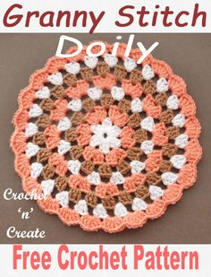 Crochet Granny Doily Free Crochet Pattern Pretty granny doily, free crochet pattern, make for your tables and sideboards or for gifts. CLICK and scroll down the page for the pattern.A crochet granny doily, I love this stitch pattern, I don& know about you Crochet Coaster Pattern, Granny Square Crochet Pattern, Crochet Flower Patterns, Crochet Stitches Patterns, Crochet Squares, Crochet Designs, Stitch Patterns, Crochet Granny, Crochet Flowers