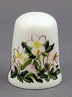 RP: Caverswall Thimble - December Flower of the Month Christmas Rose - etsy.com