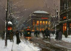 Chatelet in Winter - Édouard Cortès (French, 1882-1969) Post-Impressionism