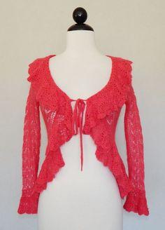FREE PEOPLE Coral Pink Open Weave Crochet Ruffle Beaded Cardigan Sweater Size XS #FreePeople #Cardigan