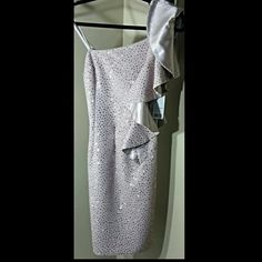 ADRIANNA PAPELL Special Occasion Dress. NWT S6 Color taupe.  One sleeve lined with a satin taupe lining. Sequins/beads for a nice added glimmer. Size 6 Adrianna Papell Dresses One Shoulder