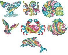 Mehndi Sea Life Set 3 Machine Embroidery Designs by JuJu Whale octopus nautilus shell sea gull crab fish dolphin