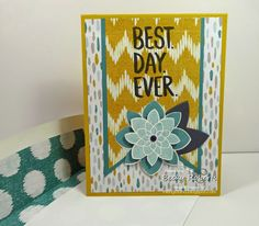 Inking Idaho: Demonstrator Theater Video; Cardstock:  Hello Honey, Lost Lagoon, Basic Gray, Sweet Dreams Designer Series Paper Stamp Set:  Best Day Ever (FREE Sale-a-bration set), Crazy About You Accessories:  Banner Framelits, Flower Medallion Punch, Bouquet Bigz L Die (leaves)