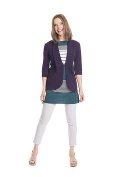 Purple shawl collar cardigan with pockets in purple bamboo and patchwork tunic by Jennifer Fukushima eco fashion. Photo by Julie Riemersma.