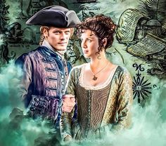 Claire and Jamie Fraser  - Lovers in the Caribbean (art by  Vera Adxer)