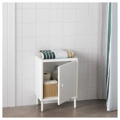 IKEA DYNAN Cabinet with door White cm You quickly create a personal storage solution with several cabinets since they are easy to assemble – and. Ikea Sinks, Ikea Bathroom, Bathroom Flooring, Small Bathroom, Bathroom Cabinets, Bathroom Shelving Unit, Bathroom Storage, Modular Shelving, Open Shelving