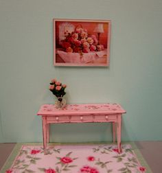 1:12th Scale Miniature dollhouse Shabby Chic side table desk vanity in pink with rose print