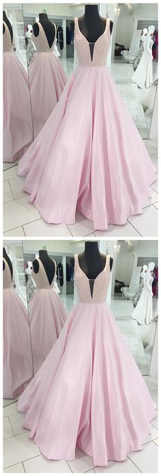 Decent A-Line Deep V-Neck Sleeveless Open Back Pink Satin Long Prom/Evening Dress with Beading P0376  #promdresses #longpromdress #2018promdresses #fashionpromdresses #charmingpromdresses #2018newstyles #fashions #styles #hiprom #pink #blushpink #vneck