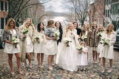 Who says only the bride gets to wear white? This neutral wedding part slays (how amazing are those faux fur jackets?) Short white bridesmaid dresses from Brideside. Neutral Bridesmaid Dresses, Designer Bridesmaid Dresses, Bridesmaid Dresses Online, Wedding Dresses, Bridesmaids, Bridal Dress Stores, Bridal Gowns, Smart Dress, Fit N Flare Dress