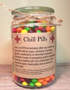 Having a bad day? Take a chill pill! This fun Chill Pill jar (candy not included… Having a bad day? Take a chill pill! This fun Chill Pill jar (candy not included) makes a perfect gift for anyone who appreciates a little humor: - Gag Gifts Christmas, Holiday Gifts, Christmas Crafts, Brother Christmas Gifts, Birthday Gifts For Brother, Birthday Gifts For Coworkers, Homemade Gifts For Friends, Cute Friend Gifts, Cool Christmas Gift Ideas